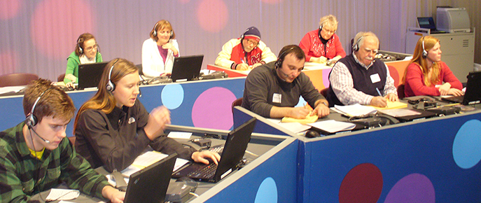 Volunteers answering pledge drive phones