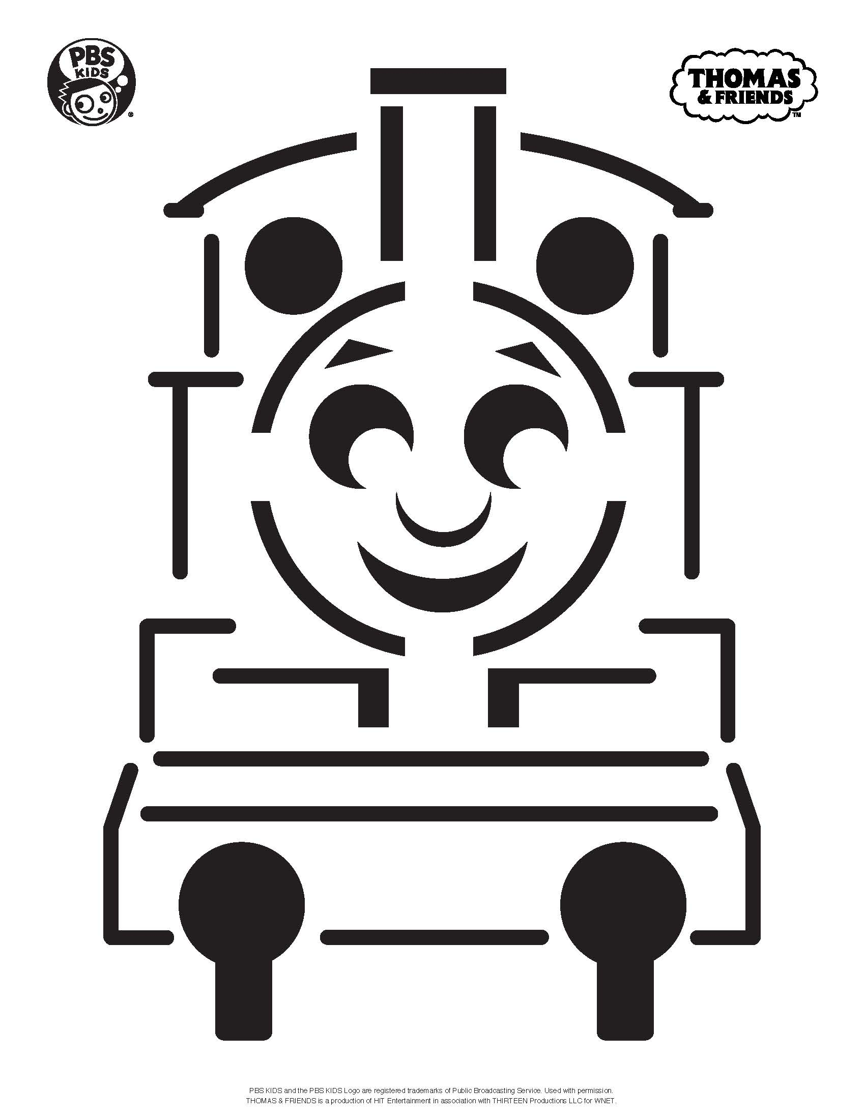 Thomas the train outline the image kid for Thomas the tank engine face template