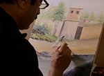 Newly-resettled in Dayton, refugee artist Mohammed Hanif Esmaty paints images of his Afghan homeland from memory