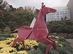 Visit Franklin Park Conservatory in Columbus, where the outdoor sculpture exhibit Origami in the Garden captures delicate folded paper designs in metal: https://origamiinthegarden.com/.