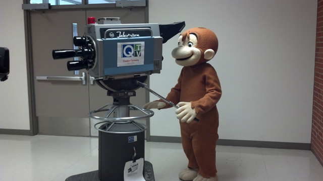 Curious George monkeying around on one of our first cameras.