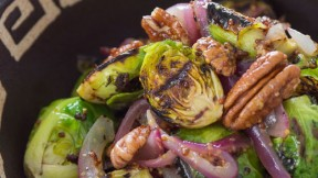 Grilled Brussels Sprouts with Mustard Dressing