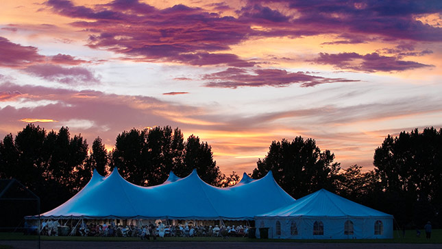 The High Plains Chautauqua performance tent at Aims Community College