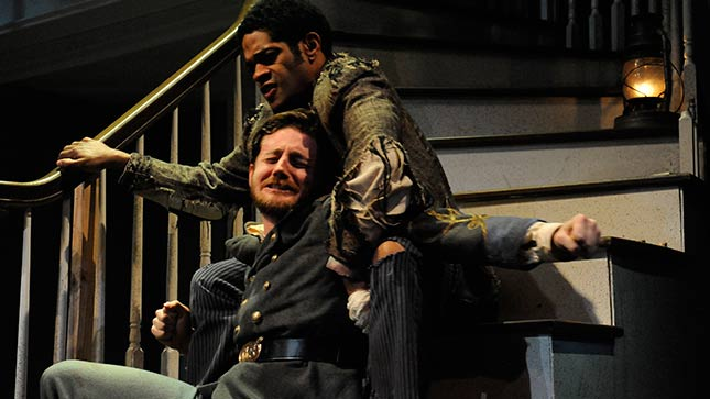 The challenges of life after the Civil War are explored in 'The Whipping Man,' currently on stage at Curious Theatre Company. Pictured are actors Laurence Curry and Sean Scrutchins.