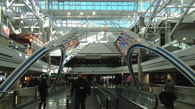 'Circle of Lights' at the B Gate inside the Denver International Airport.