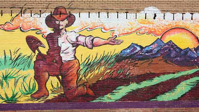 The Farmer Mural, located at 709 10th street, illustrates the melding of Greeley's agricultural roots and its arts scene.