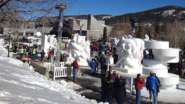 Fifteen sculptures were created for this year's Budweiser International Snow Sculpture Champsionship in Breckenridge, in front of Riverwalk Center.