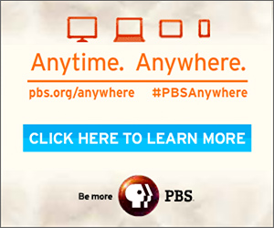 Ad for PBS Anywhere featuring a TV, desktop computer, and mobile devices for watching PBS anytime, anywhere.