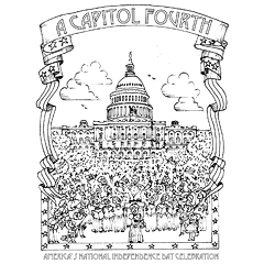Preview image of coloring page 1: U.S. Capitol with concert in front