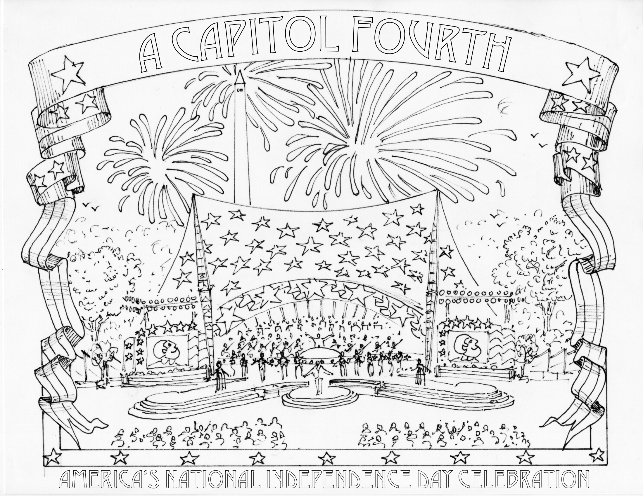 color your own a capitol fourth - 4th Of July Coloring Pages