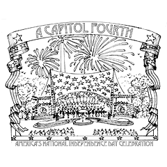 Preview image of coloring page 2: Concert tent with fireworks above it