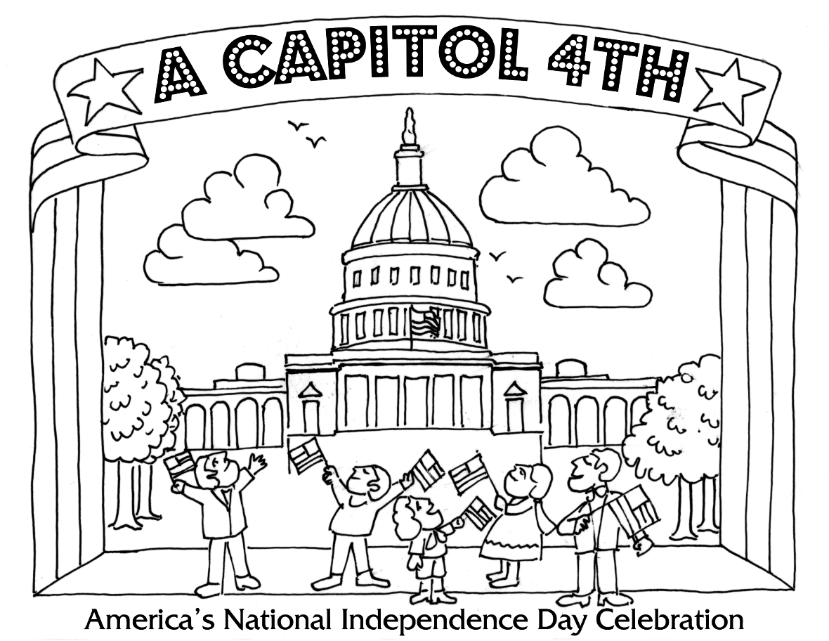Printable coloring pages july 4 - Pdfpng Preview Image Of Coloring Page 4 Concert Tent With Performers And Audience Waving Flags In