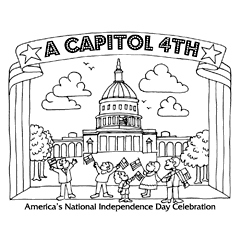 Preview image of coloring page 3: U.S. Capitol with people in front waving flags and banner that says 'A Capitol Fourth'