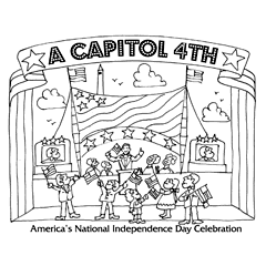 Preview image of coloring page 4: Concert tent with performers and audience waving flags in front and banner that says 'A Capitol Fourth'