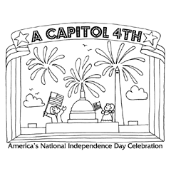 Preview image of coloring page 5: 2 people waving flags, Capitol building and Washington Monument, fireworks and banner that says 'A Capitol Fourth'
