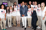 Christopher Jackson and Scott Hamilton pose backstage with members of the U.S. Olympic and Paralympic teams at <em>A Capitol Fourth</em> concert at the U.S. Capitol, West Lawn, on July 4, 2016 in Washington, DC.