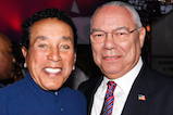 Smokey Robinson and General Colin Powell, USA (Ret.), pose for a photo backstage during <em>A Capitol Fourth</em> concert at the U.S. Capitol, West Lawn, on July 4, 2016 in Washington, DC.