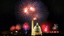 Fireworks over Washington, D.C. accompanied by the 1812 Overture.