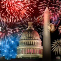 US Capitol with Fireworks in the background