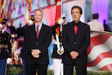 Actors and co-hosts Gary Sinise and Joe Mantegna onstage at the 27th <em>National Memorial Day Concert</em>.