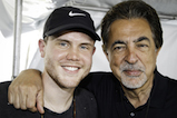 <em>American Idol</em> Season 15 winner Trent Harmon poses backstage with actor Joe Mantegna at the 2016 <em>National Memorial Day Concert</em>.