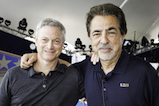 Acclaimed actors and co-hosts Gary Sinise and Joe Mantegna pose for the camera onstage at the 2016 <em>National Memorial Day Concert</em>.