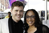 <em>American Idol</em> Season 15 winner Trent Harmon poses backstage with esteemed actress S. Epatha Merkerson at the 2016 <em>National Memorial Day Concert</em>.