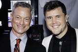 Emmy Award winner Gary Sinise takes a photo with <em>American Idol</em> Season 15 winner Trent Harmon backstage at the 2016 <em>National Memorial Day Concert</em>.