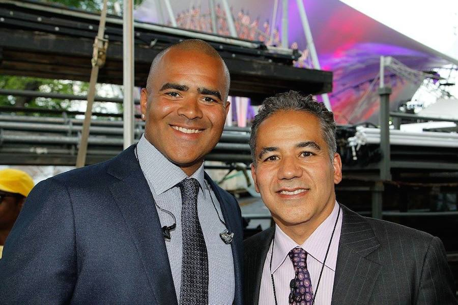 "Actors Christopher Jackson (L), star of Broadway's ""Hamilton"" and CBS' ""Bull"" and John Ortiz (KONG: SKULL ISLAND) backstage at PBS' 2017 <em>National Memorial Day Concert</em> - Rehearsals at U.S. Capitol, West Lawn on May 27, 2017 in Washington, DC. (Photo by Paul Morigi/Getty Images for Capital Concerts)"