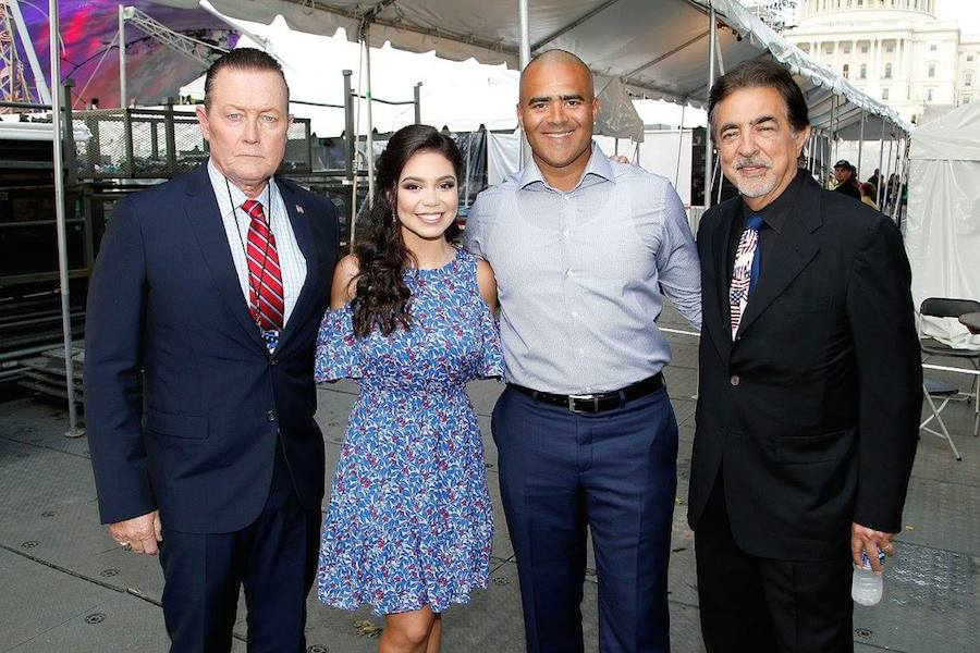 "Actor Robert Patrick from the hit series ""Scorpion""; Auli'i Cravalho of the hit Disney film ""MoanaÓ; Christopher Jackson, star of Broadway's ""Hamilton"" and CBS' ""Bull""; and host Joe Mantegna backstage at PBS' 2017 <em>National Memorial Day Concert</em> - Rehearsals at U.S. Capitol, West Lawn on May 27, 2017 in Washington, DC. (Photo by Paul Morigi/Getty Images for Capital Concerts)"