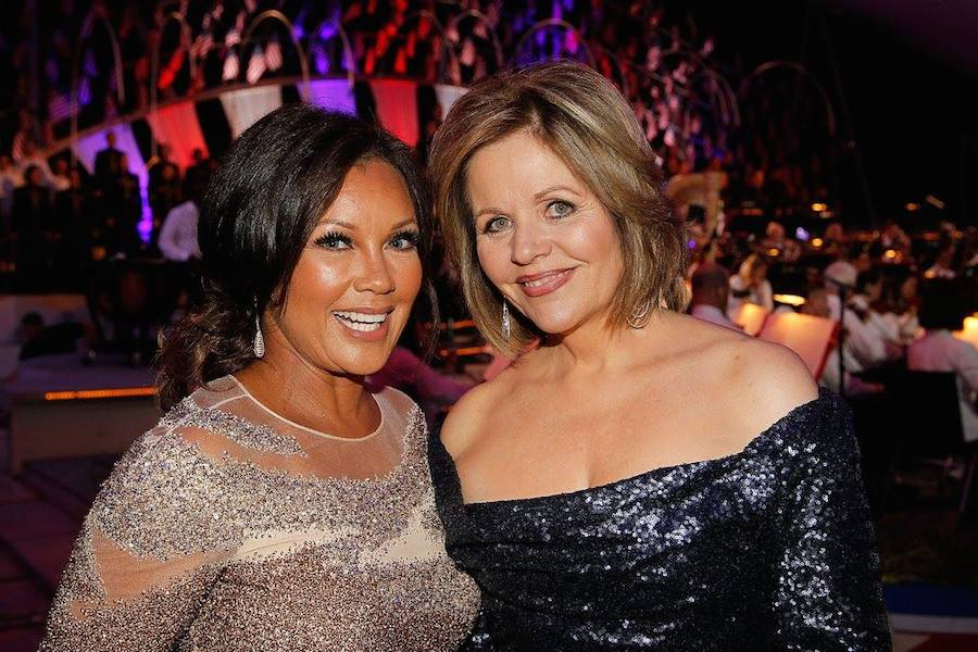 Singer and actress Vanessa Williams (L) and Grammy Award-winning classical music artist Renee Fleming backstage at PBS' 2017 <em>National Memorial Day Concert</em> - Rehearsals at U.S. Capitol, West Lawn on May 27, 2017 in Washington, DC. (Photo by Paul Morigi/Getty Images for Capital Concerts)