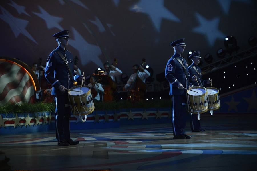 """Air Force Drummers and the National Symphony Orchestra perform """"Commemoration"""" by RObert Wendel at PBS' 2017 <em>National Memorial Day Concert</em> at U.S. Capitol, West Lawn on May 28, 2017 in Washington, DC."""
