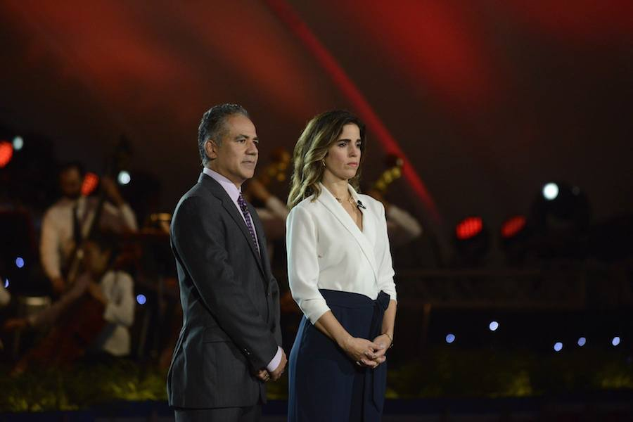 Actors John Ortiz and Ana Ortiz perfom at PBS' 2017 <em>National Memorial Day Concert</em> at U.S. Capitol, West Lawn on May 28, 2017 in Washington, DC.