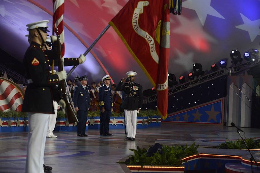 The United States Armed Forces present the colors at PBS' 2017 <em>National Memorial Day Concert</em> at U.S. Capitol, West Lawn on May 28, 2017 in Washington, DC.