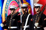 The U.S. Army Color Guard stands at attention for their service song during the <i>Salute to Services</i> each year on the <i>National Memorial Day Concert</i>.