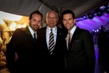 Alfie Boe, Gen. Colin Powell, and Chris Mann pose backstage on the set of the <i>National Memorial Day Concert</i>