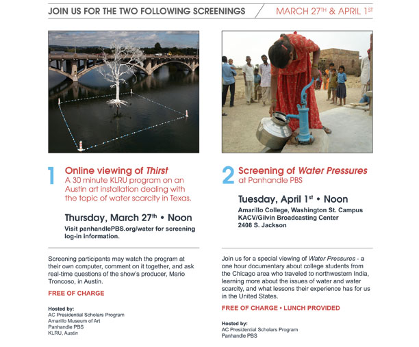 Join Panhandle PBS for a screening of Water Pressures and Arts in Context Thirst