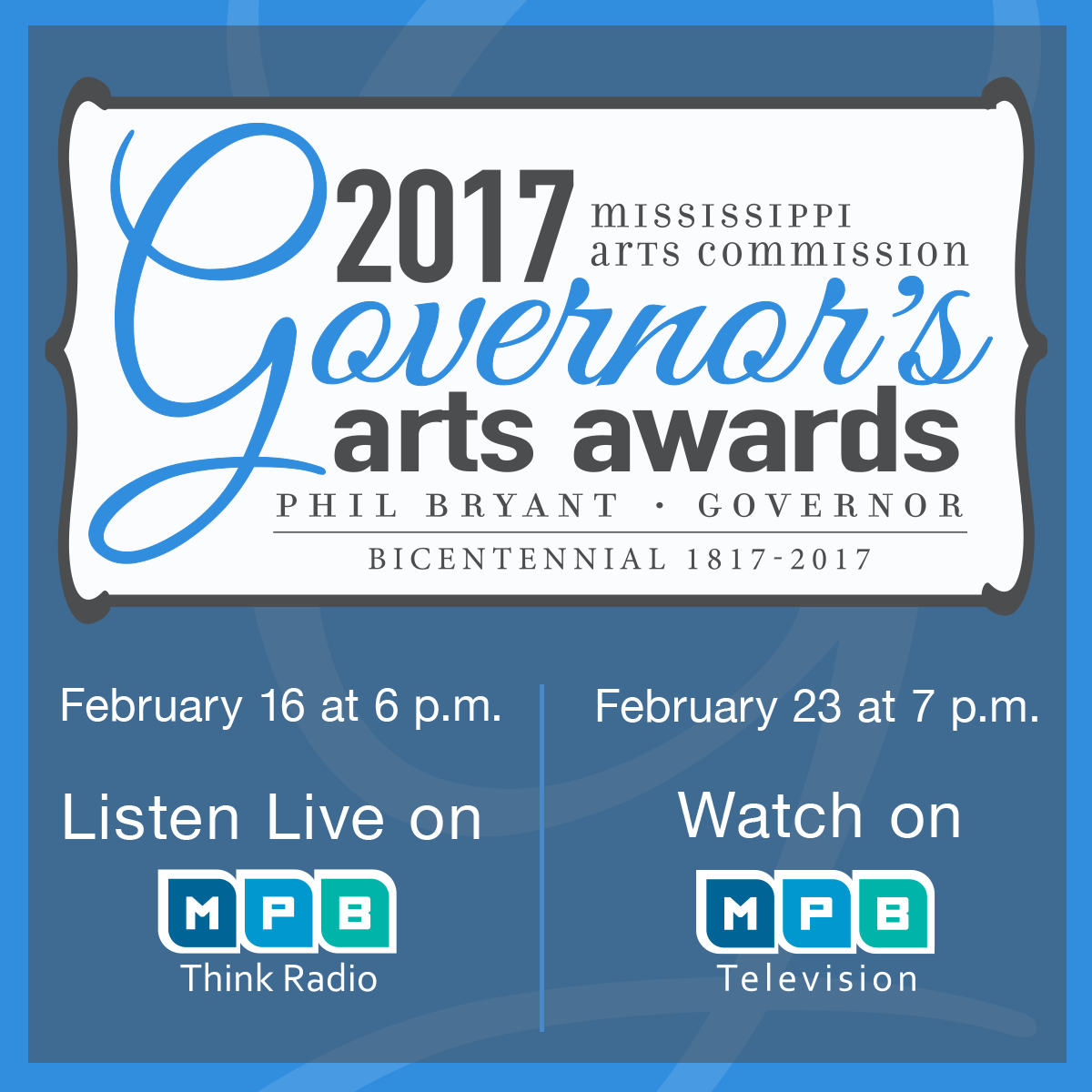 Listen Live to the Governor's Arts Awards, February 16th on MPB Think Radio, Watch on February 23rd at 7PM on MPB TV.