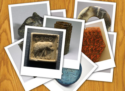 An image of several artifacts representing ancient river valley civilizations.
