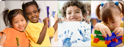 Young children playing. Kids are painting and building blocks and doing arts and crafts activities.