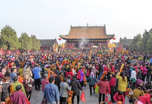 crowd of people in front of temple