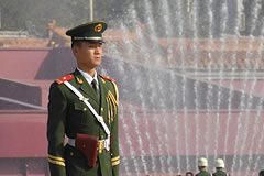 soldier standing at attention on a platform