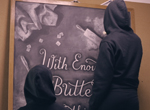 The anonymous chalk art duo known as Dangerdust at the Columbus College of Art Design.