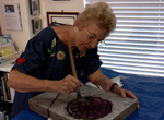 Bobbi Mastrangelo, a Florida artist who bases her work on manhole covers